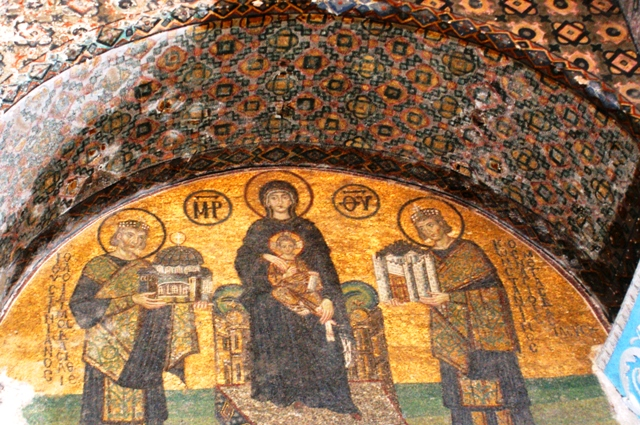 Mosaic of Virgin and Child flanked by Emperors Justinian I and Constantine I, Hagia Sophia, Istanbul, Turkey